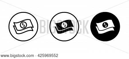Dollar Money Cash Icon, Payment Coins Finance Coin Earnings Icons Button, Vector, Sign, Symbol, Logo