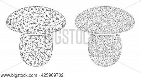 Mesh Vector Mushroom Icons. Mesh Carcass Mushroom Images In Low Poly Style With Organized Triangles,