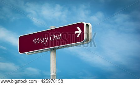 Street Sign The Direction Way To Way Out