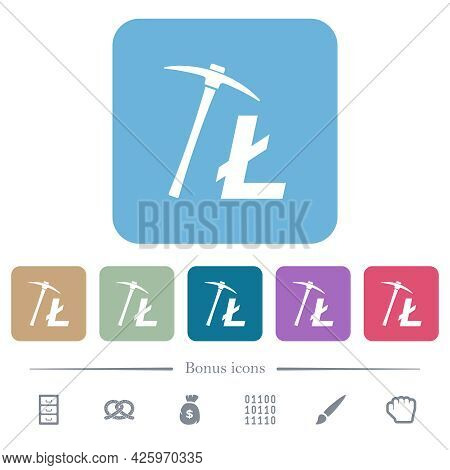 Litecoin Cryptocurrency Mining White Flat Icons On Color Rounded Square Backgrounds. 6 Bonus Icons I