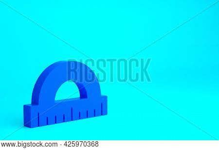 Blue Protractor Grid For Measuring Degrees Icon Isolated On Blue Background. Tilt Angle Meter. Measu