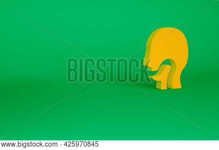 Orange Sore Throat Icon Isolated On Green Background. Pain In Throat. Flu, Grippe, Influenza, Angina