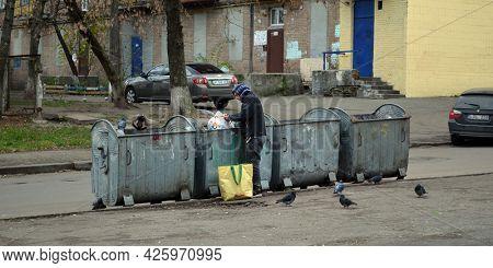 Modern ghetto. Bad district. Residential area in Kiev at autumn. Exterior.November 26, 2020. Kiev,Ukraine