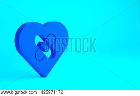 Blue Healed Broken Heart Or Divorce Icon Isolated On Blue Background. Shattered And Patched Heart. L