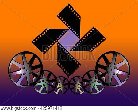 Movie Film Reels Are Seen In This 3-d Illustration About The Cinema Industry And Films In General.