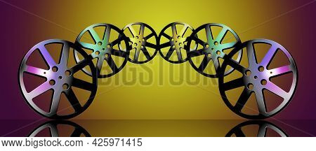 Movie Film Reels Are Seen In This 3-d Illustration About The Cinema Industry And Films In General. T