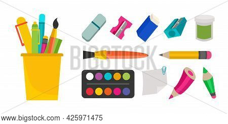 A Set Of School Supplies, Stationery, Paints, Brushes, Sharpeners, Pencils, Eraser Erasers. Vector I