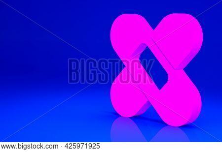 Pink Crossed Bandage Plaster Icon Isolated On Blue Background. Medical Plaster, Adhesive Bandage, Fl