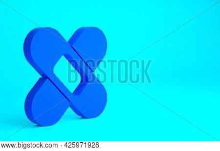Blue Crossed Bandage Plaster Icon Isolated On Blue Background. Medical Plaster, Adhesive Bandage, Fl