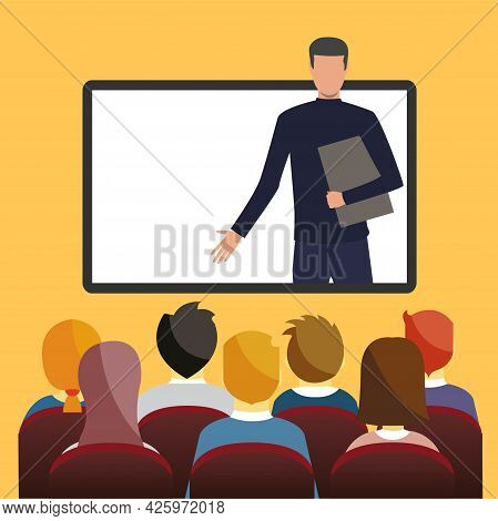 Businessman Laptop Screen Chat Information Bubble Online Seminar People Group Brainstorming Forum Co
