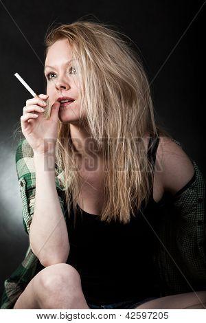 Attractive Danish Caucasian Woman In White Trashy Lifestyle