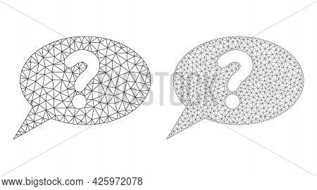 Triangular Vector Unknown Message Icons. Mesh Wireframe Unknown Message Images In Lowpoly Style With