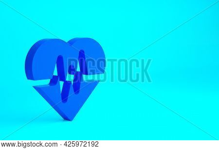 Blue Heart Rate Icon Isolated On Blue Background. Heartbeat Sign. Heart Pulse Icon. Cardiogram Icon.