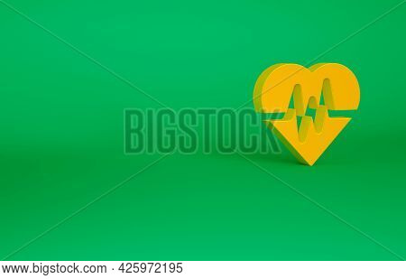Orange Heart Rate Icon Isolated On Green Background. Heartbeat Sign. Heart Pulse Icon. Cardiogram Ic