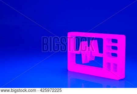 Pink Computer Monitor With Cardiogram Icon Isolated On Blue Background. Monitoring Icon. Ecg Monitor
