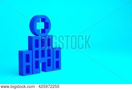 Blue Medical Hospital Building With Cross Icon Isolated On Blue Background. Medical Center. Health C