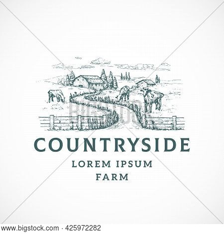 Agriculture Farm Retro Badge Or Logo Template. Hand Drawn Countryside Road Landscape Sketch With Bar