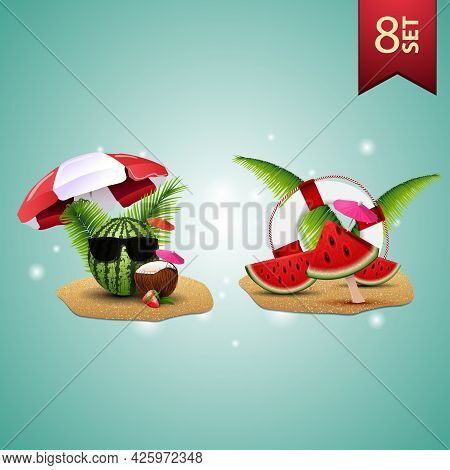 Set Of Summer 3D Icons, Watermelon In Glasses Under A Beach Umbrella, Watermelon Slices, Palm Leaves
