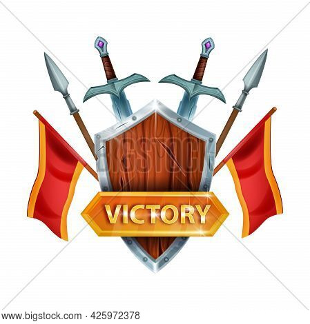 Victory Game Ui Vector Icon, Winner Sign Interface Design Element, Sword, Wooden Shield, Flag, Spear