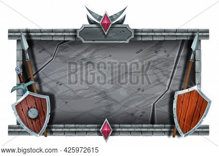 Stone Game Frame, Medieval Castle Interface Design, Marble Rock Signboard, Wooden Shield, Spear, Swo