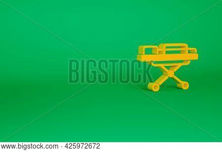 Orange Stretcher Icon Isolated On Green Background. Patient Hospital Medical Stretcher. Minimalism C