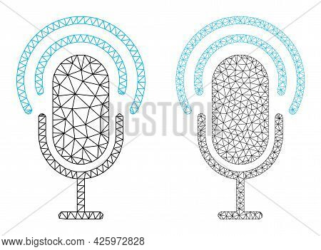Mesh Vector Microphone Icons. Mesh Wireframe Microphone Images In Low Poly Style With Structured Tri