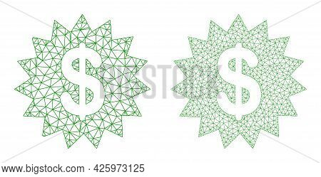 Triangular Vector Dollar Rosette Icons. Mesh Carcass Dollar Rosette Images In Low Poly Style With Co