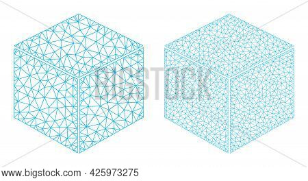 Mesh Vector Sugar Cube Icons. Mesh Wireframe Sugar Cube Images In Low Poly Style With Organized Tria