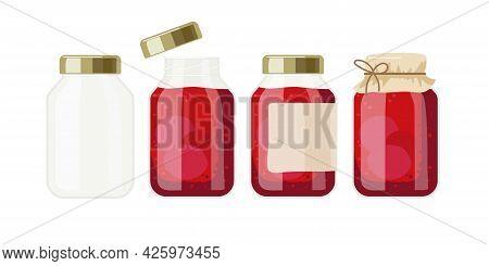 Jam Or Compote Banks. Canned Fruit Or Berries. Preserved Fruit In Glass Jars Set Vector Illustration