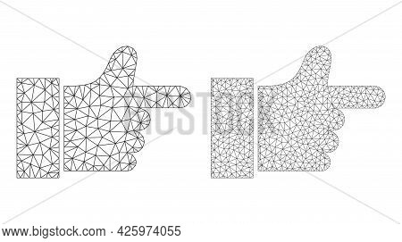 Mesh Vector Index Finger Icons. Mesh Wireframe Index Finger Images In Low Poly Style With Structured