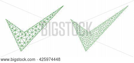 Mesh Vector Yes Sign Icons. Mesh Wireframe Yes Sign Images In Lowpoly Style With Structured Triangle