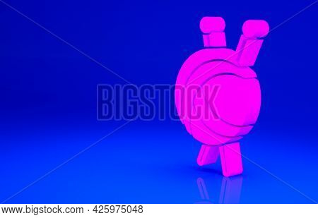 Pink Yarn Ball With Knitting Needles Icon Isolated On Blue Background. Label For Hand Made, Knitting