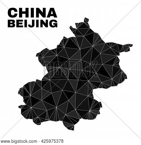 Low-poly Beijing City Map. Polygonal Beijing City Map Vector Filled Of Scattered Triangles. Triangul