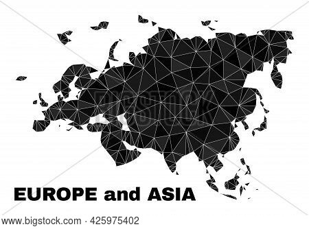 Lowpoly Europe And Asia Map. Polygonal Europe And Asia Map Vector Constructed Of Random Triangles. T