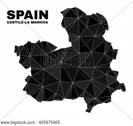 Low-poly Castile-la Mancha Province Map. Polygonal Castile-la Mancha Province Map Vector Is Filled F