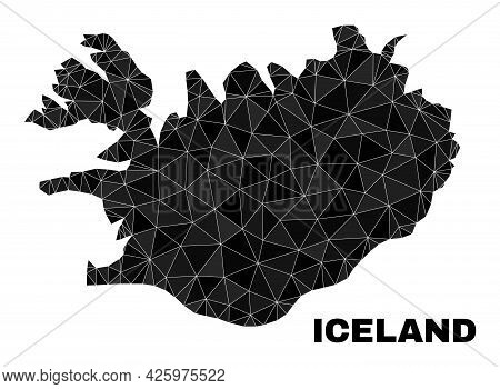 Lowpoly Iceland Map. Polygonal Iceland Map Vector Combined From Randomized Triangles. Triangulated I