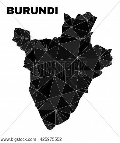 Low-poly Burundi Map. Polygonal Burundi Map Vector Is Designed With Randomized Triangles. Triangulat
