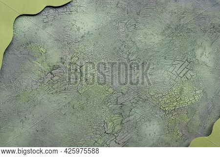 Flat Lay On Aged Textured Painted Green Brown Background. Abstract Cracked, Crackled Background. Gre