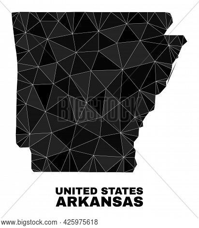 Low-poly Arkansas State Map. Polygonal Arkansas State Map Vector Combined From Random Triangles. Tri