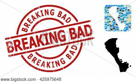 Weather Pattern Map Of Boracay Island, And Scratched Red Round Breaking Bad Seal. Geographic Vector