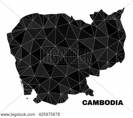 Low-poly Cambodia Map. Polygonal Cambodia Map Vector Combined With Randomized Triangles. Triangulate