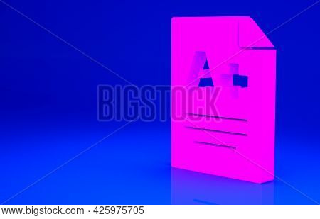 Pink Exam Sheet With A Plus Grade Icon Isolated On Blue Background. Test Paper, Exam, Or Survey Conc