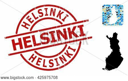 Climate Mosaic Map Of Finland, And Distress Red Round Helsinki Badge. Geographic Vector Mosaic Map O