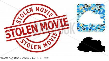 Weather Collage Map Of Bhutan, And Textured Red Round Stolen Movie Badge. Geographic Vector Collage