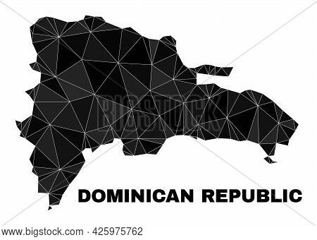 Low-poly Dominican Republic Map. Polygonal Dominican Republic Map Vector Combined Of Chaotic Triangl