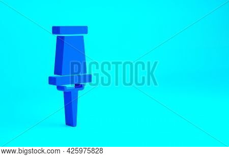 Blue Push Pin Icon Isolated On Blue Background. Thumbtacks Sign. Minimalism Concept. 3d Illustration