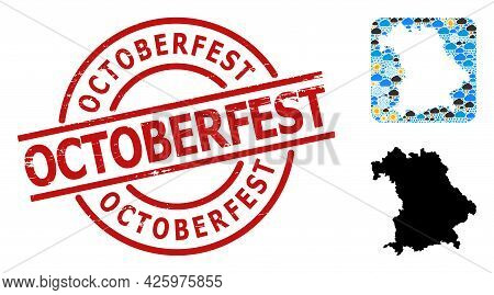 Weather Mosaic Map Of Bavaria State, And Rubber Red Round Octoberfest Stamp Seal. Geographic Vector