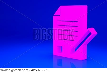 Pink Exam Sheet And Pencil With Eraser Icon Isolated On Blue Background. Test Paper, Exam, Or Survey