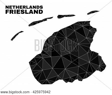 Low-poly Friesland Province Map. Polygonal Friesland Province Map Vector Is Filled Of Random Triangl