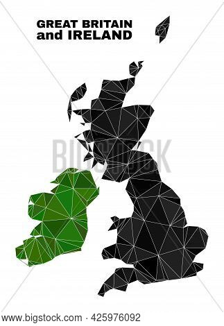 Low-poly Great Britain And Ireland Map. Polygonal Great Britain And Ireland Map Vector Is Filled Wit